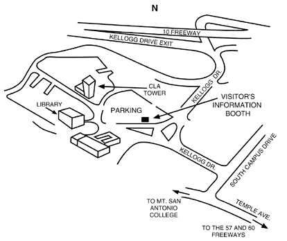 Map of Cal Poly Pomona showing freeways