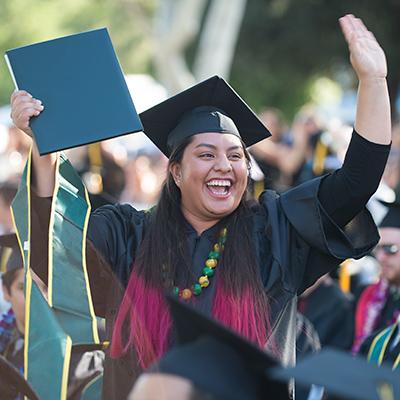 Graduate celebrating graduation.