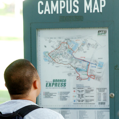 Student looking at campus map
