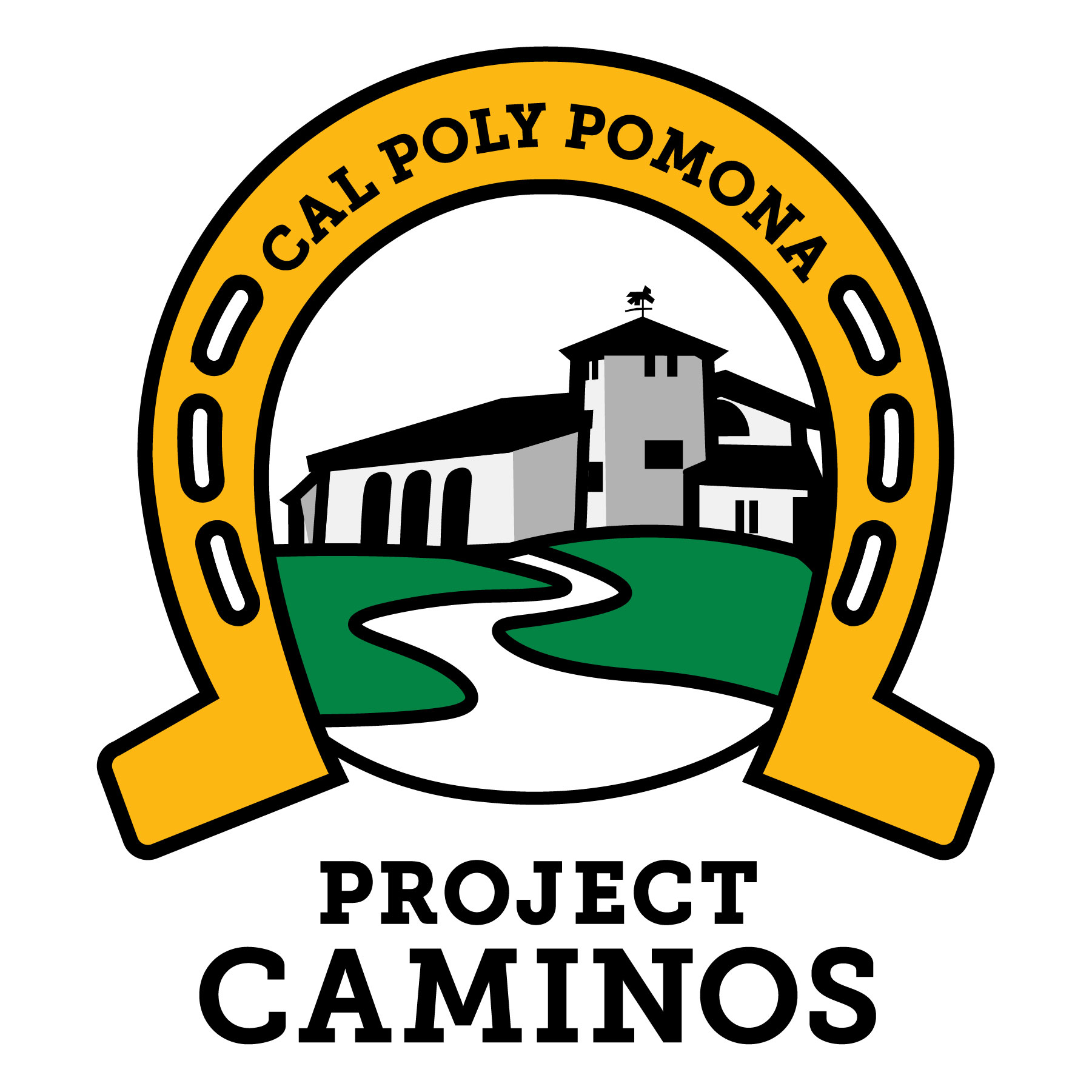 logo of project caminos; horse shoe with words Cal Poly Pomona arched; with image of old stables in the middle