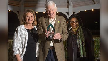Businessman and longtime agricultural education supporter Jim Hicks receives the Agricultural Achievement Award from Cal Poly Pomona President Soraya Coley and then-Dean Mary Holz-Clause in 2015.