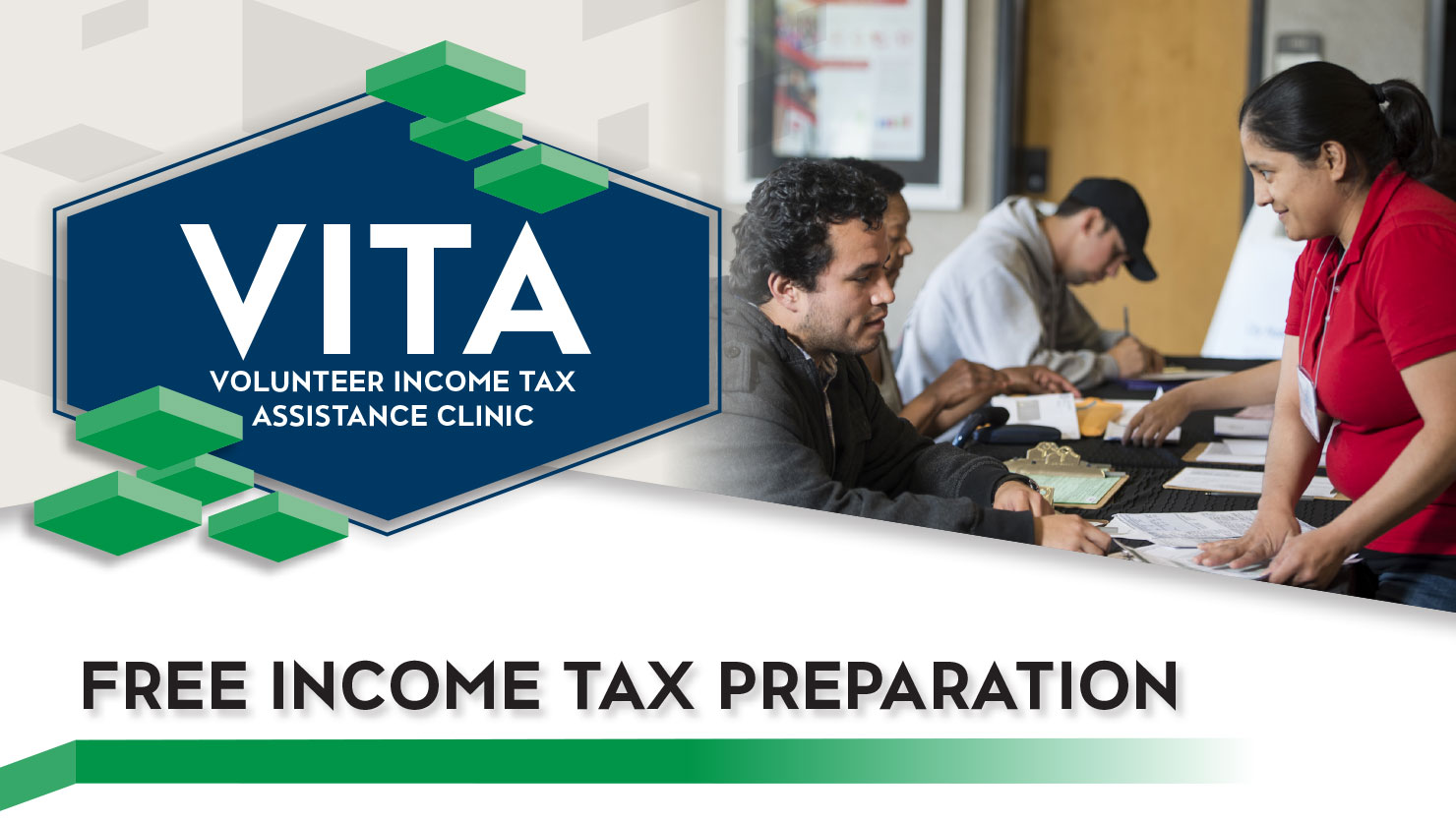 Student helping community members file taxes next to computer - VITA and Free income tax preparation are spelled over image