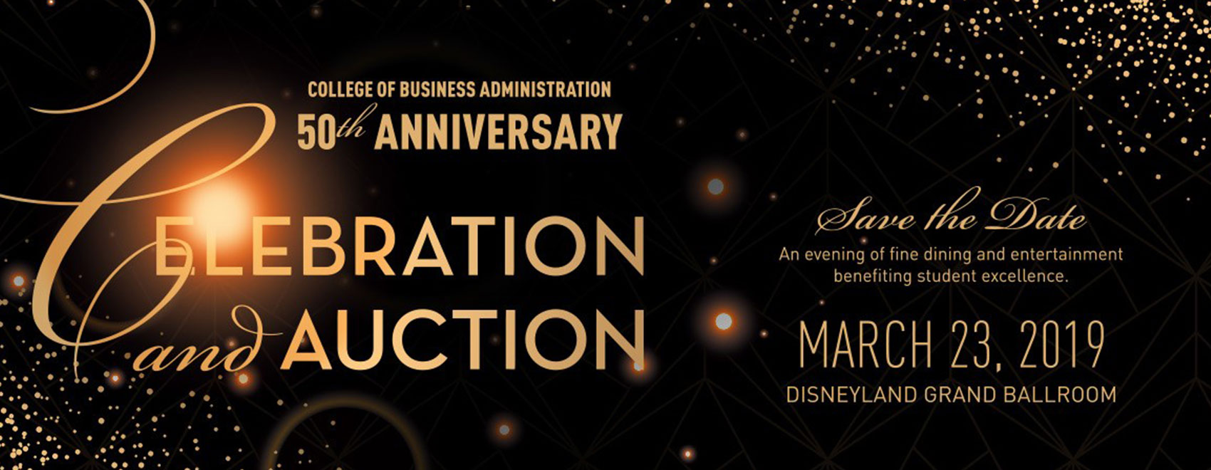 50th Gala event flier announcing March 23 as date and Disney Grand Ballroom as location