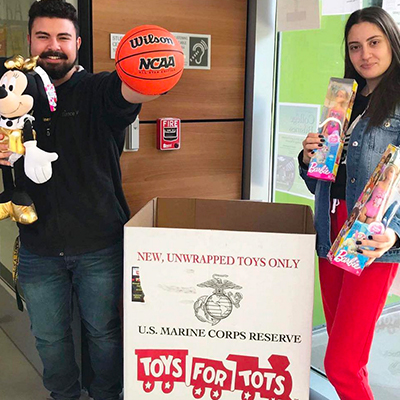 Toys for Tot box outside of Student Success Center