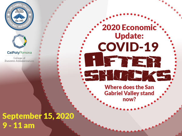 Event poster for 2020 COVID update  with title and time