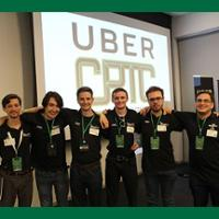 students standing at uber competition
