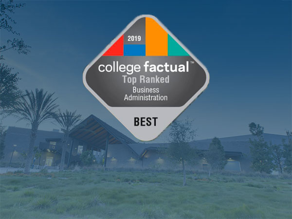 CBA Complex with blue overlay and College Factual Best Business Colleges Logo
