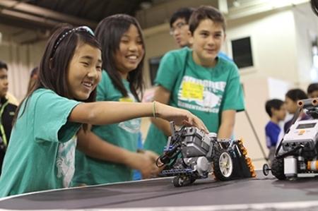 children with robots