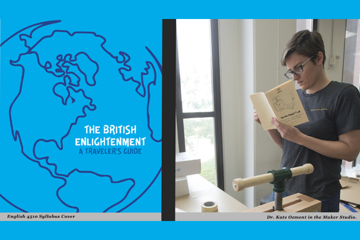 The British Enlightenment.  A Traveler's Guide.  English 4510 Syllabus Cover.  Dr. Kate Ozment in the Maker Studio.