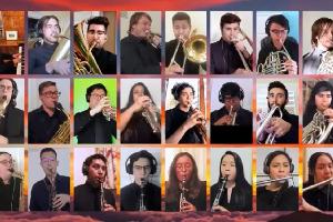 Wind ensemble Zoom grid of musicians