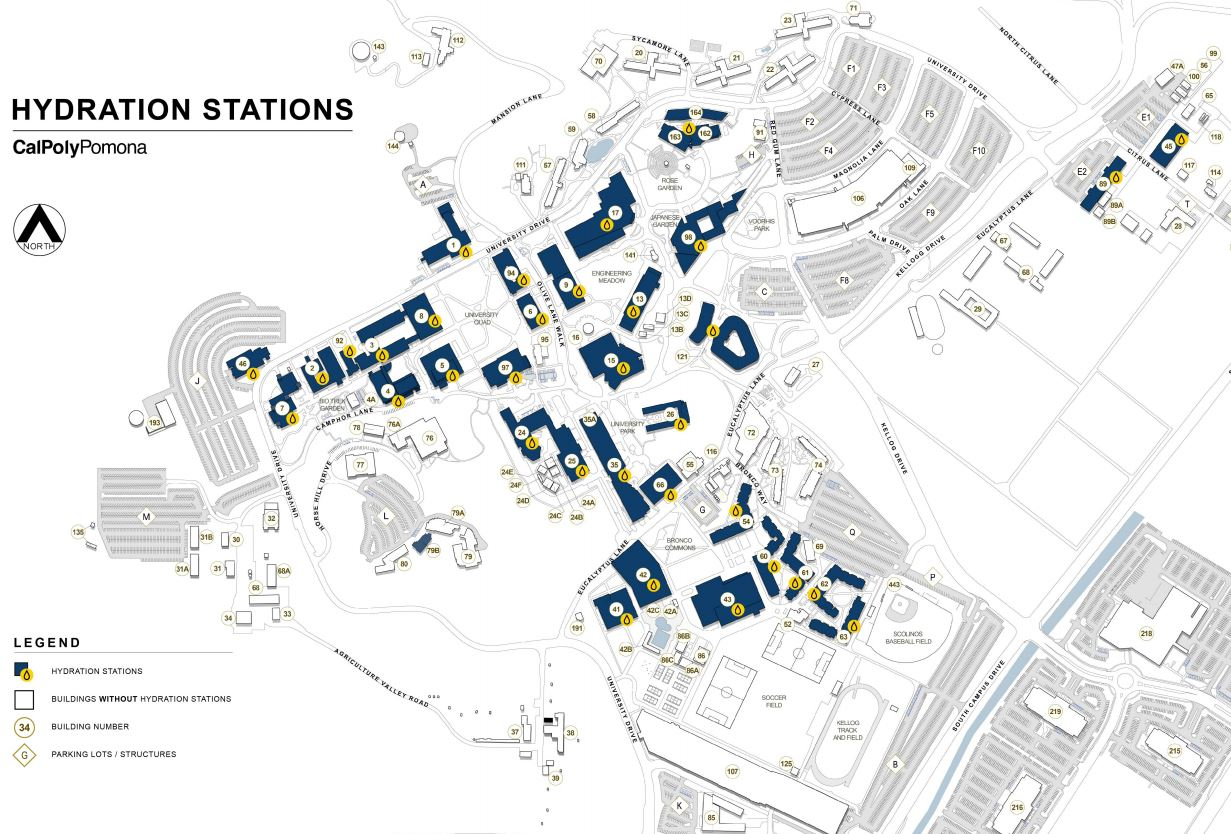 Map of buildings with a hydration station. Screen reader users navigate down to map of containing filling stations link for a list of buildings.