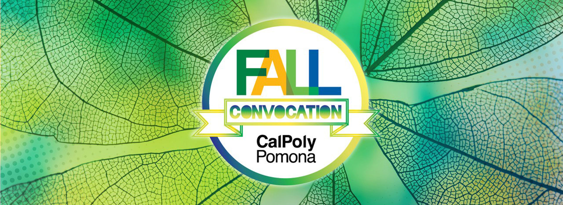 the Fall conference logo against stylized green leaves