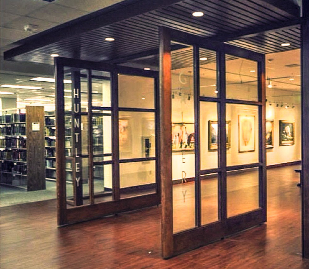 Photo: Entrance to the Huntley Gallery located inside the Library (Building 15) 4th Floor, Suite 4435