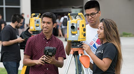 Students in a surveying class