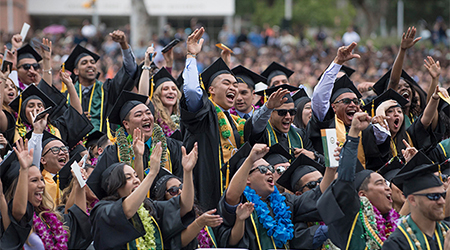 Student celebrate during 2019 commencement ceremony.