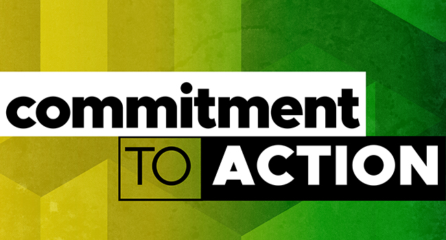 graphic with the words Commitment to Action