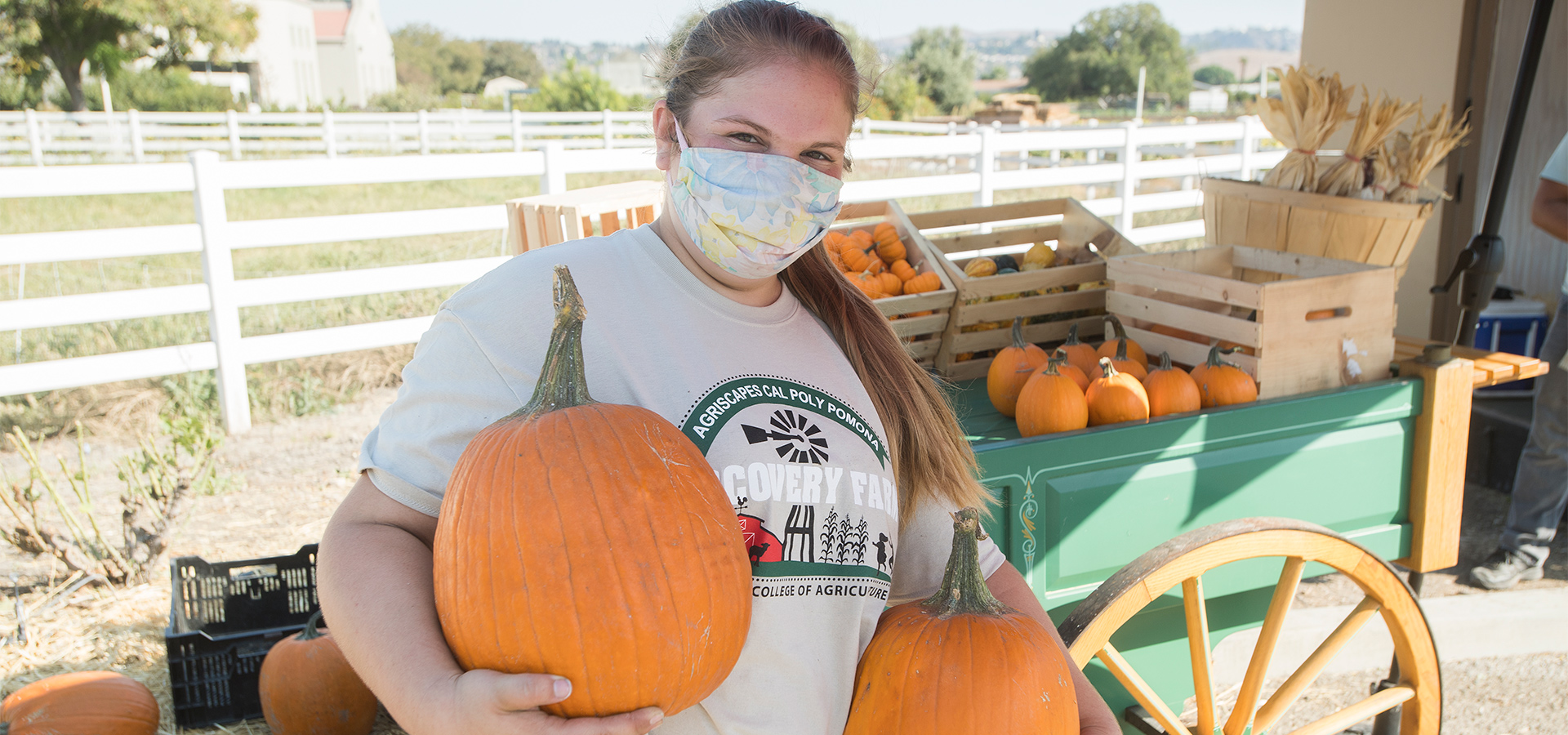 Jillian Woods holds pumpkins for curbside pickup.