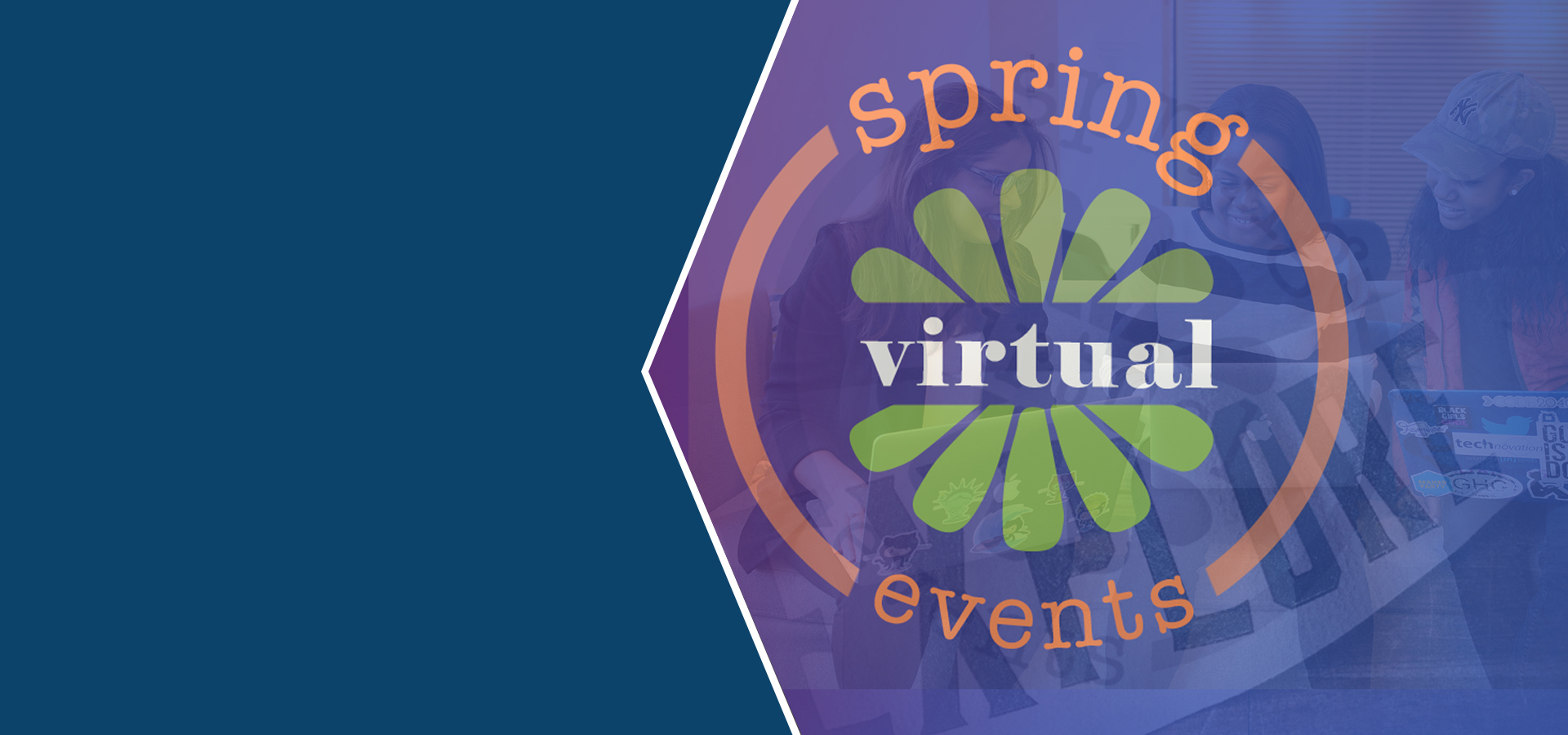 Graphic that says Spring Virtual Events