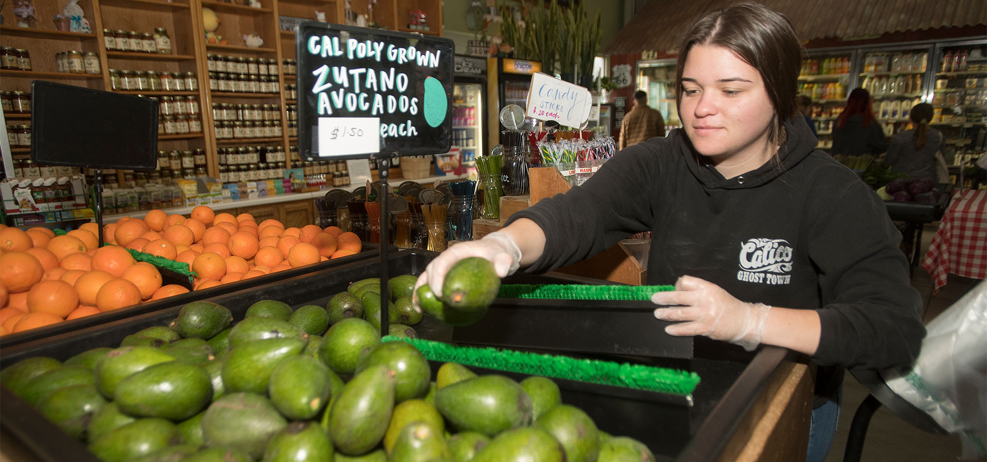 Farm Store Employee works with Avocados