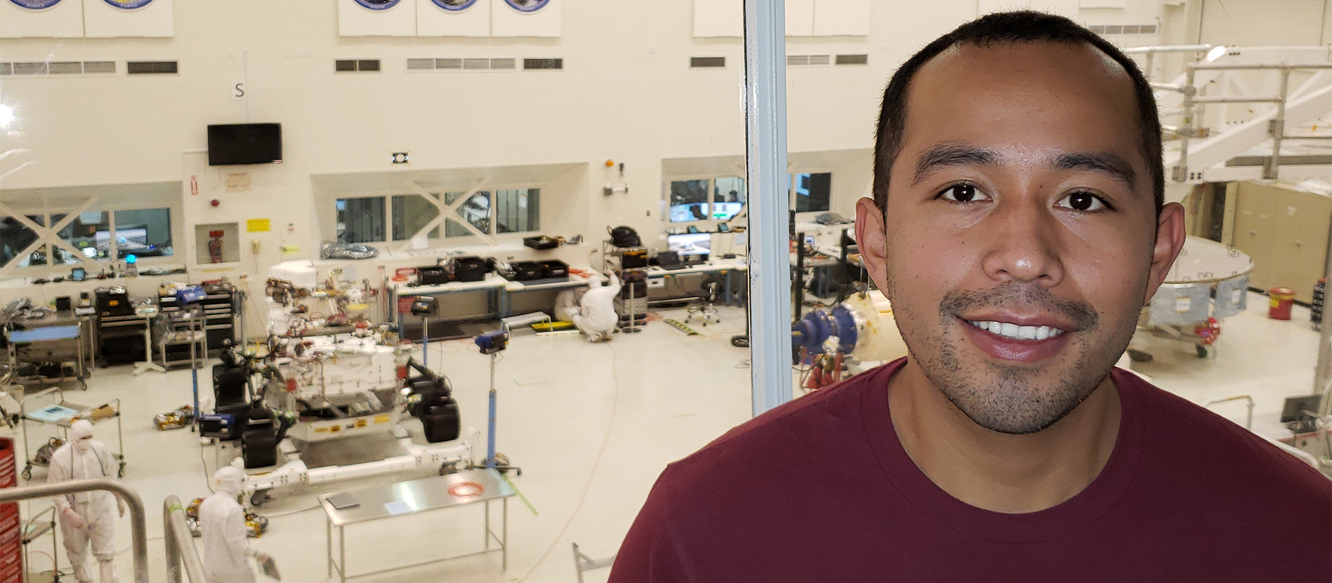 Luis Dominquez in a lab at JPL.