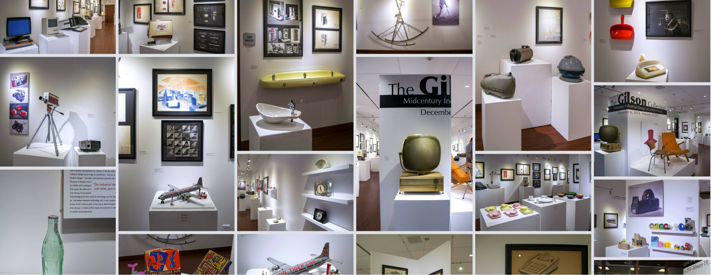 Photomontage of Channing Gilson Collection exhibition views of midcentury industrial design objects and designs