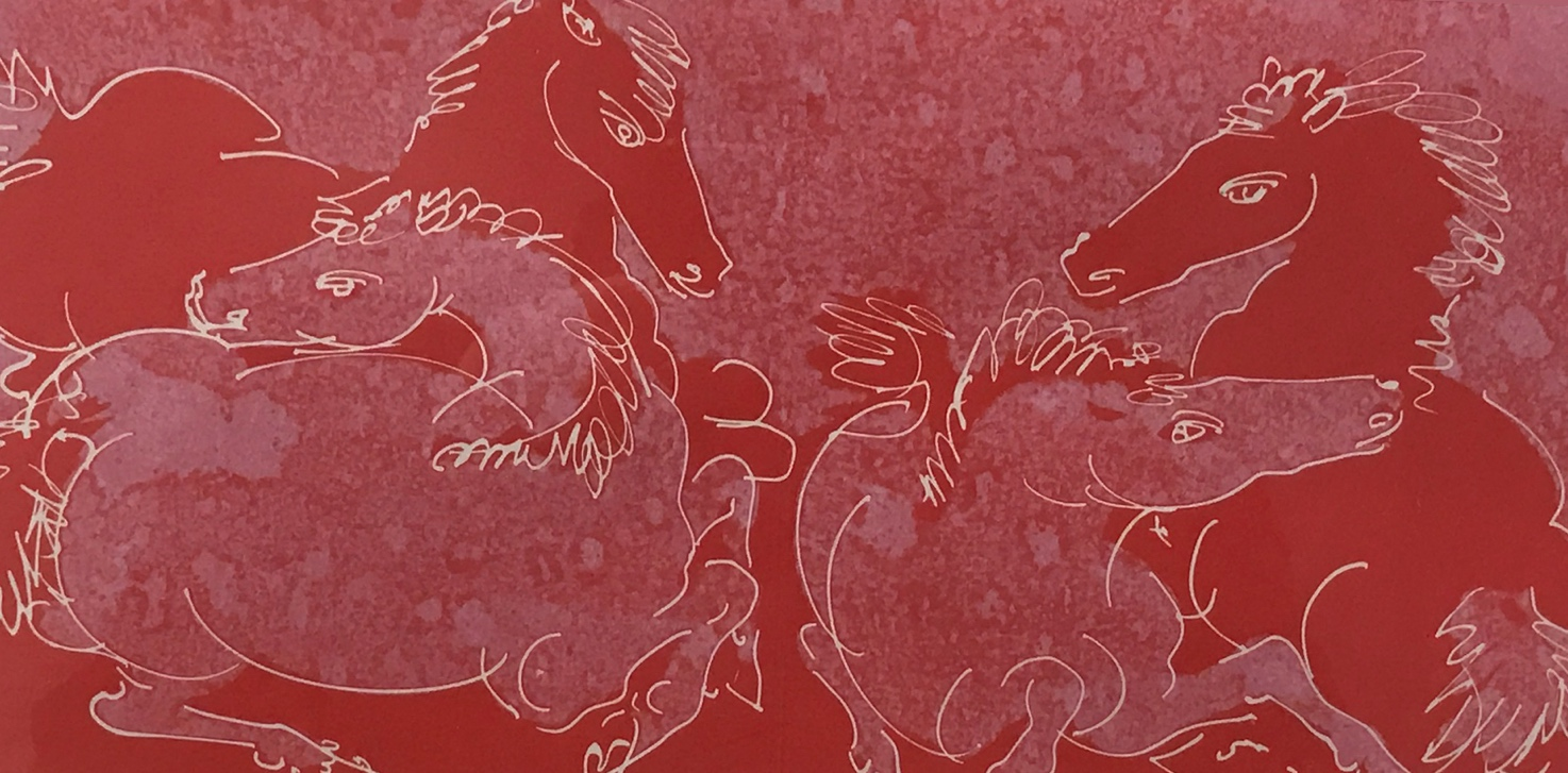 """Hans Erni, Les Chevaux / The Horses (four horses in motion), 1954, lithograph in colors, ed. no. 11 of 43, 6 x 12"""". The Raymond Burr-Robert Benevides Swiss Collection. Donated by Raymond Burr and Robert Benevides. College of Environmental Design, Cal Poly Pomona."""