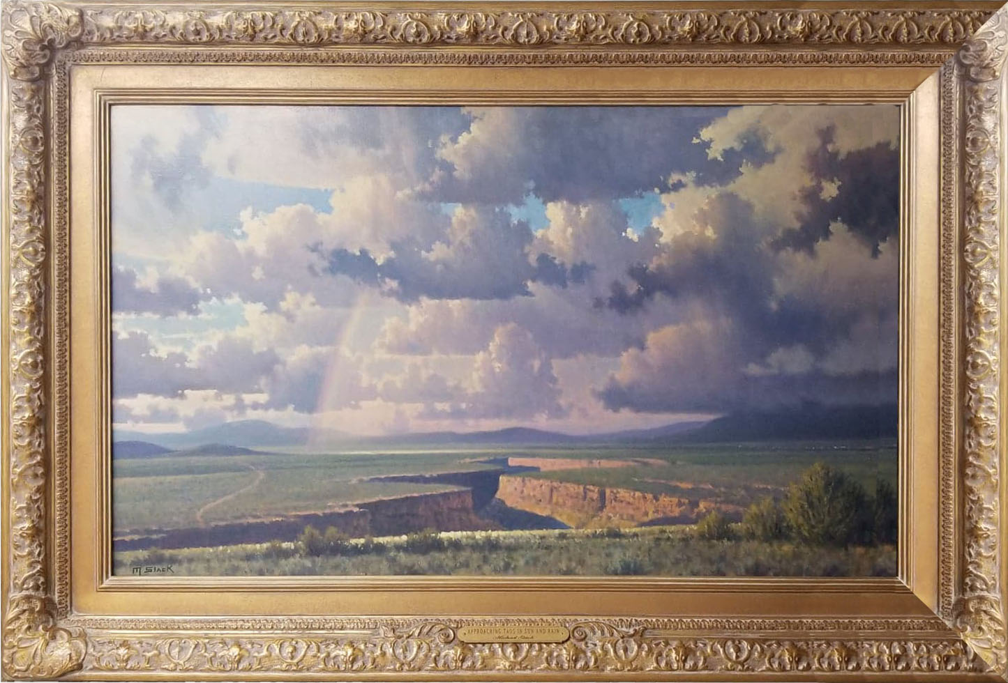 Michael Stack, Approaching Taos in Sun and Rain piece.  navigate down for further details