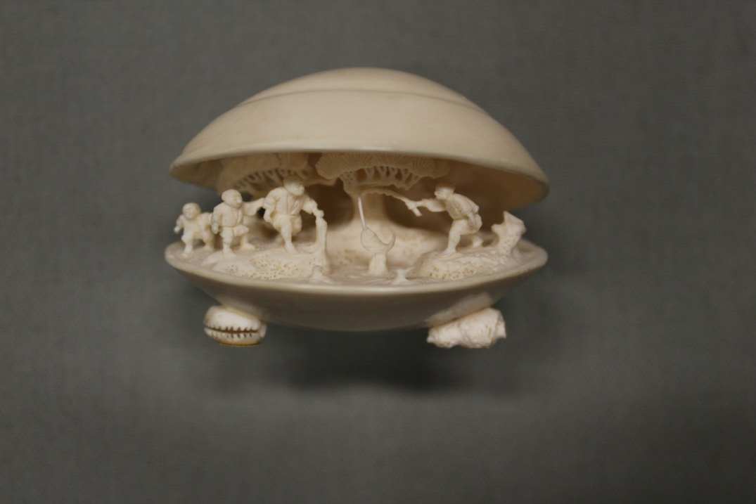 Mitsuharu's Large open clam shell with a fishing scene piece.  navigate down for further details