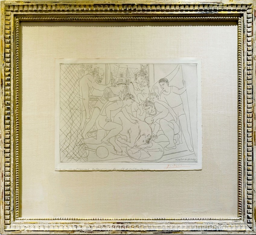 Pablo Picasso's Cheval Mourant entoure d'une famille de Saltimbanques / Dying horse surrounded by a family of acrobats piece.  navigate down for further details