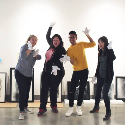 Jury Day with juror Nancy Haselbacher, Curator Michele Cairella Fillmore, and  student volunteers assisting with art handling for 2018's Annual Juried 2d3d Student Art Exhibition, Polykroma.