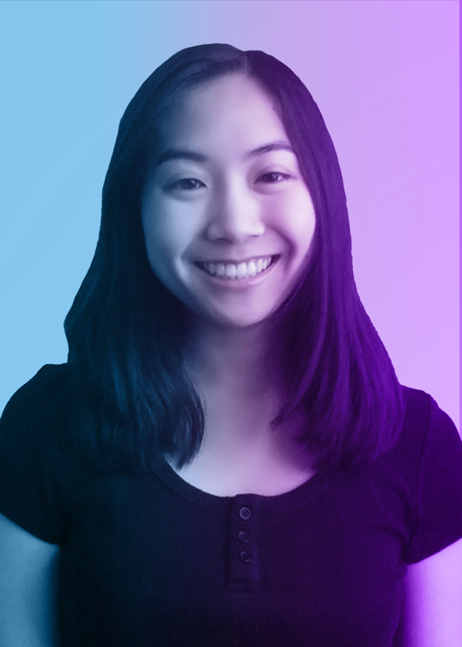 photo of smiling female college student with straight dark hair. blue and purple overlay on photo.