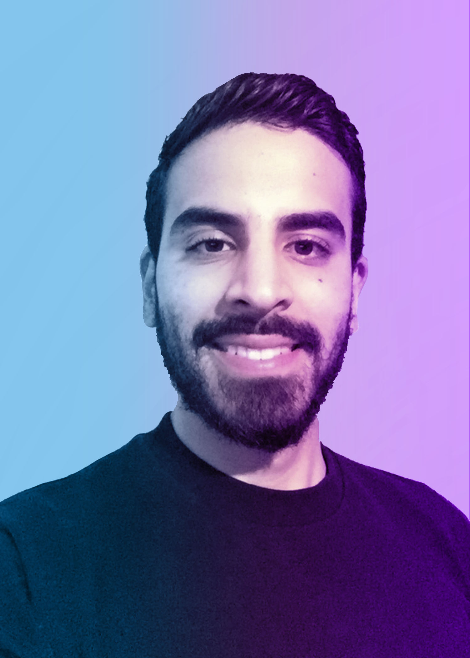 photo of smiling male college student with short dark. blue and purple overlay on photo.
