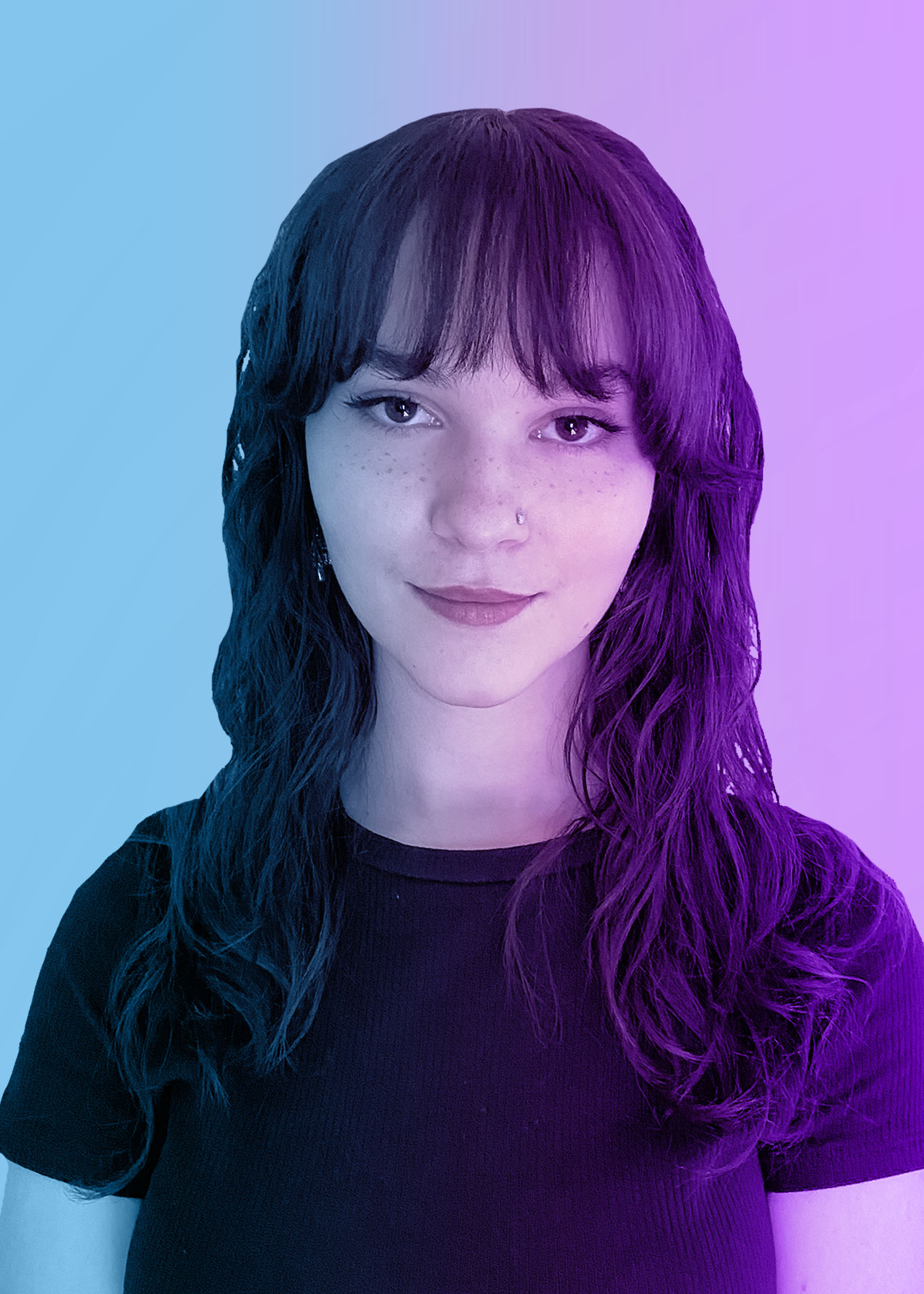 photo of female college student with wavy medium length hair. blue and purple overlay on photo.