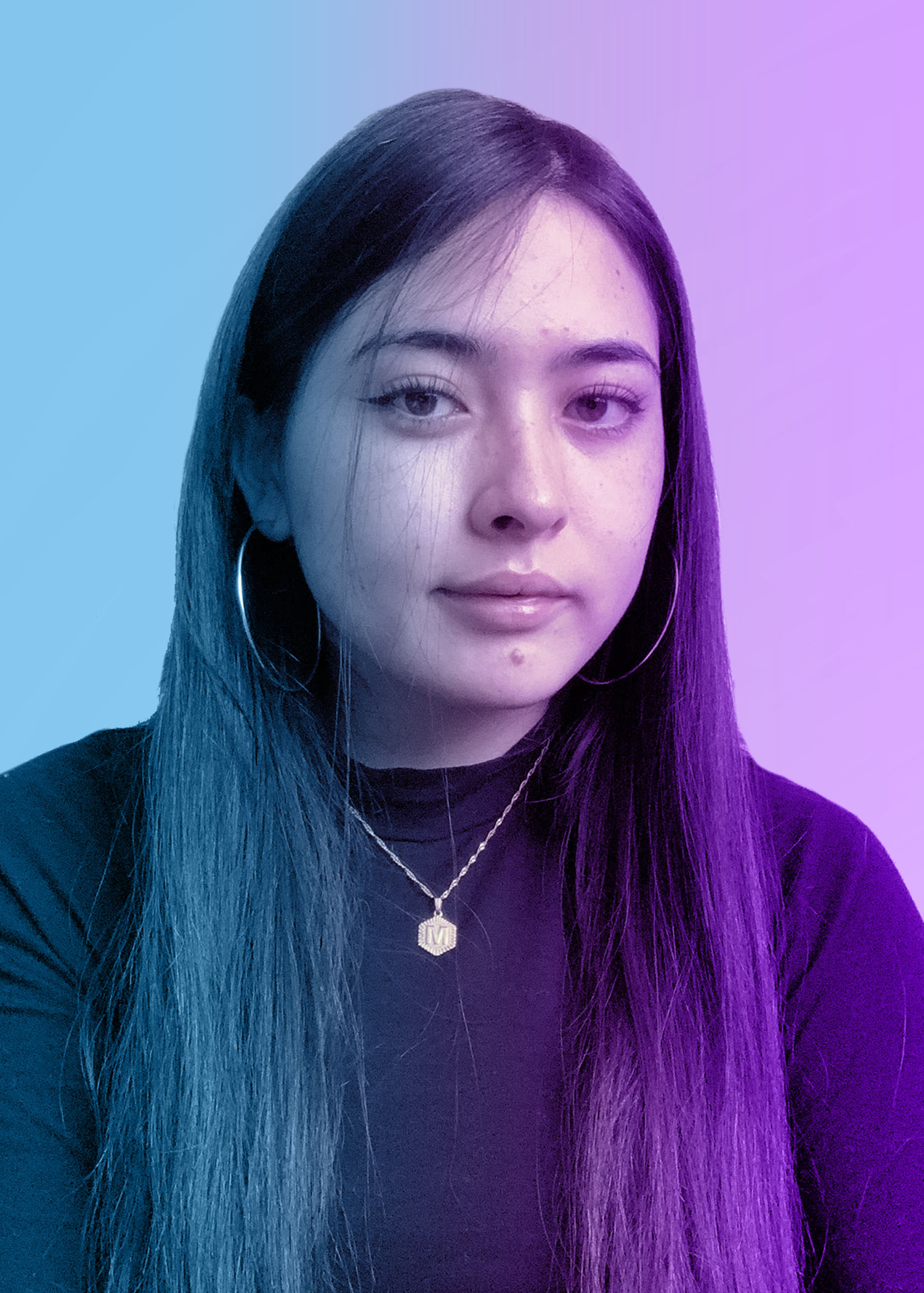 photo of female college student with long dark hair. blue and purple overlay on photo.