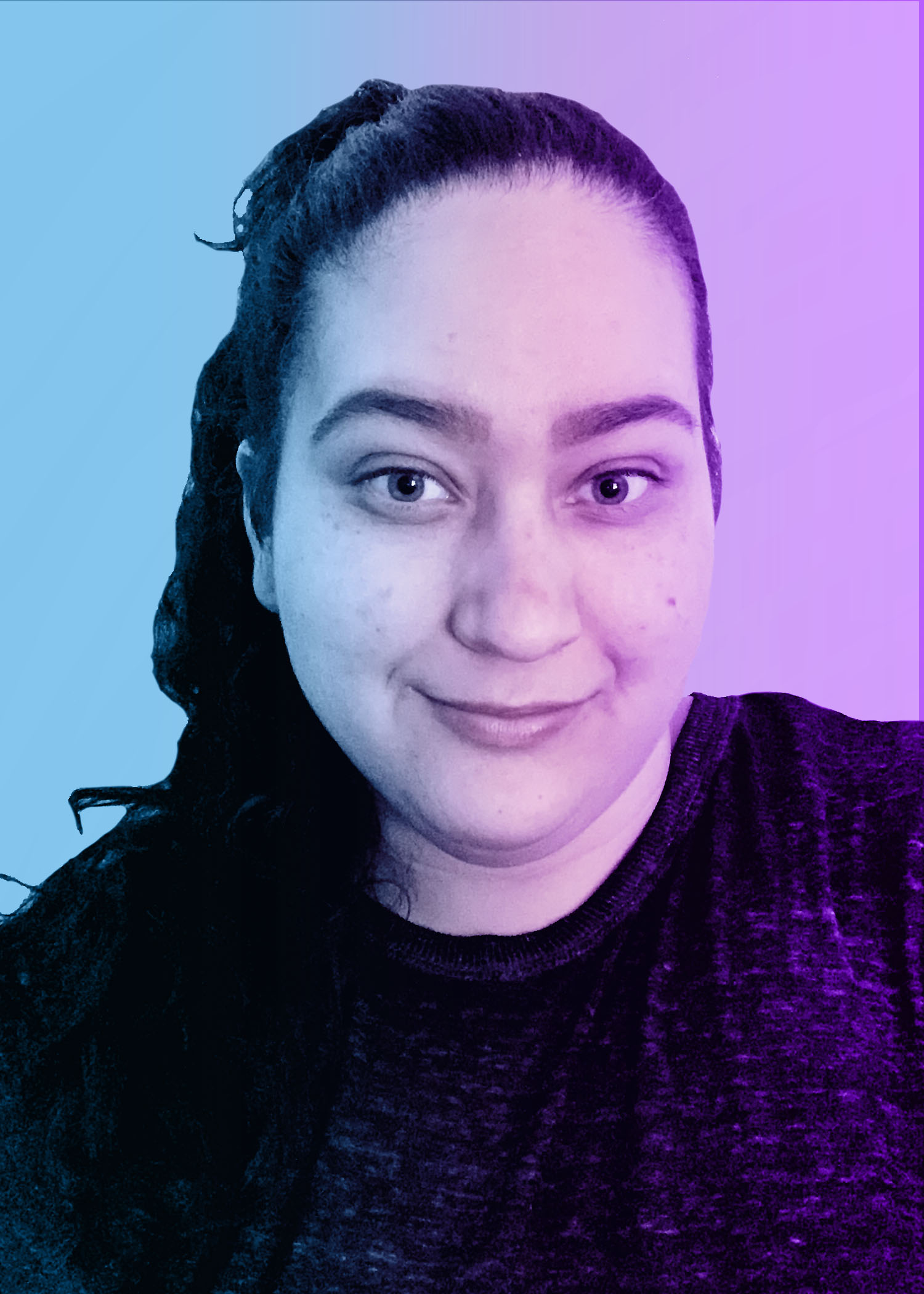 photo of female college student with dark, wavy hair. blue and purple overlay on photo.
