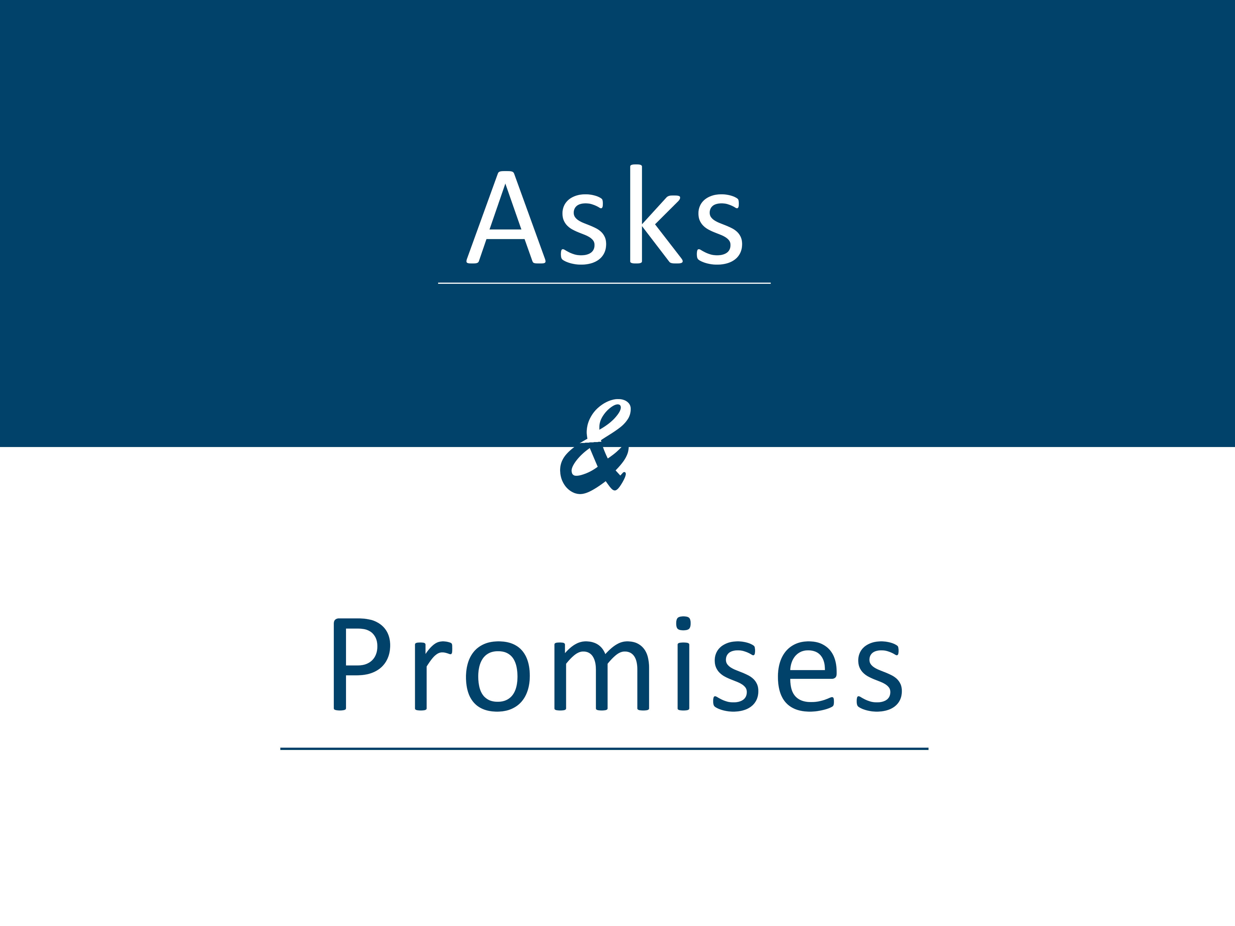 asks and promises banner