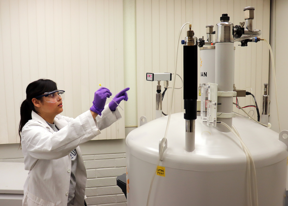 student in lab setting