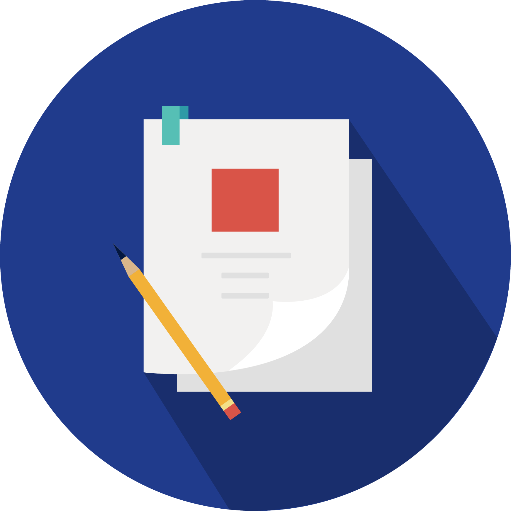 Icon of two pieces of paper stacked with a pencil at the bottom