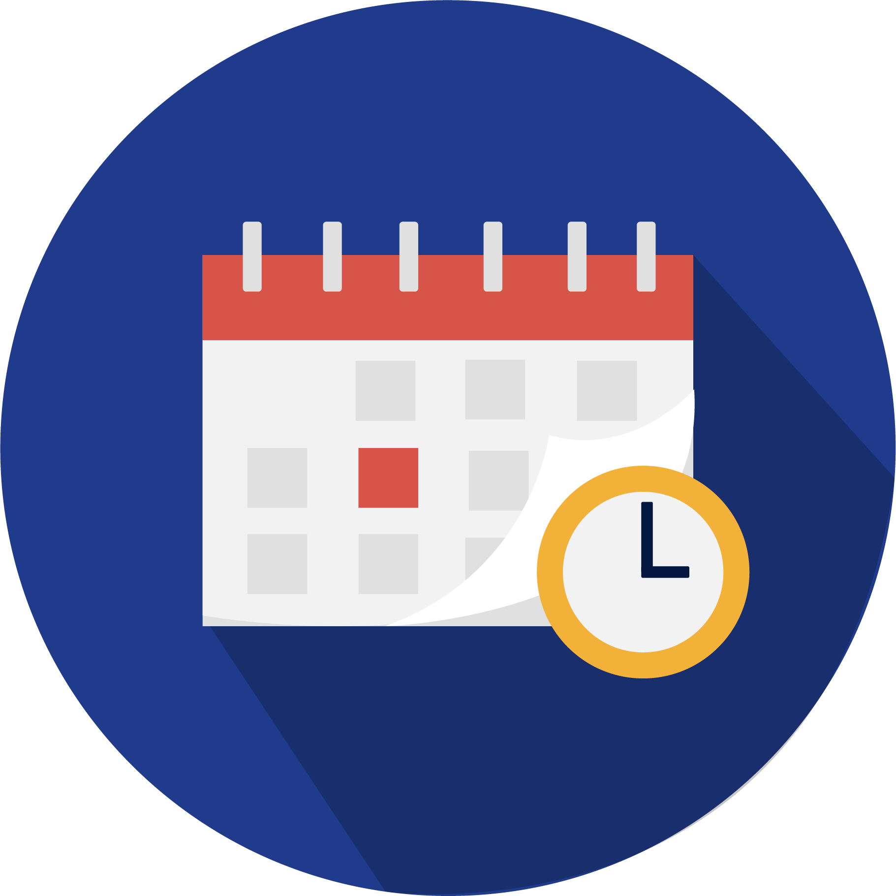Icon of a calendar and a clock