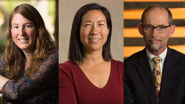 3 columns displaying three faculty winners for Provost Excellence award