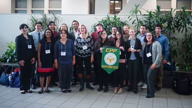 Image of a large group, composing of CPP Students at CSU Research Competition