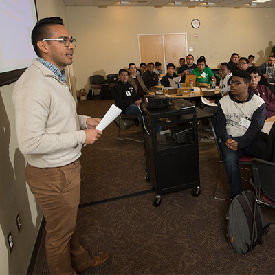 aul Ramirez talks about financial aid  to Project Success students