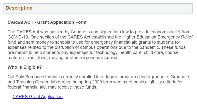 CSU CARES Act Emergency Grants