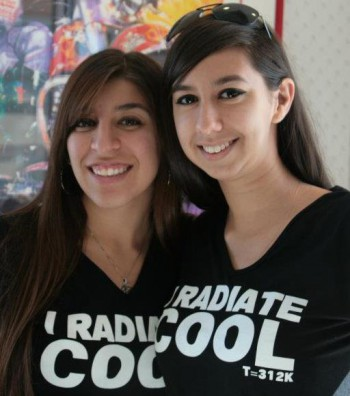 Jessica (right) sporting a Cal Poly Pomona Physics Club T-shirt.