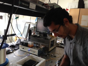 Adrian in the lab to test some fiber optic biosensors.