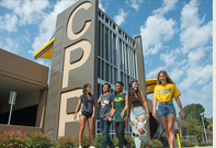 Five Cal Poly Pomona students walking together