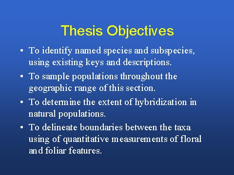 objective of the thesis An abstract is a concise summary of a larger project (a thesis, research report, performance, service project, etc) that concisely describes the content and scope of the project and identifies the project's objective, its methodology and its findings, conclusions, or intended results remember that your abstract.