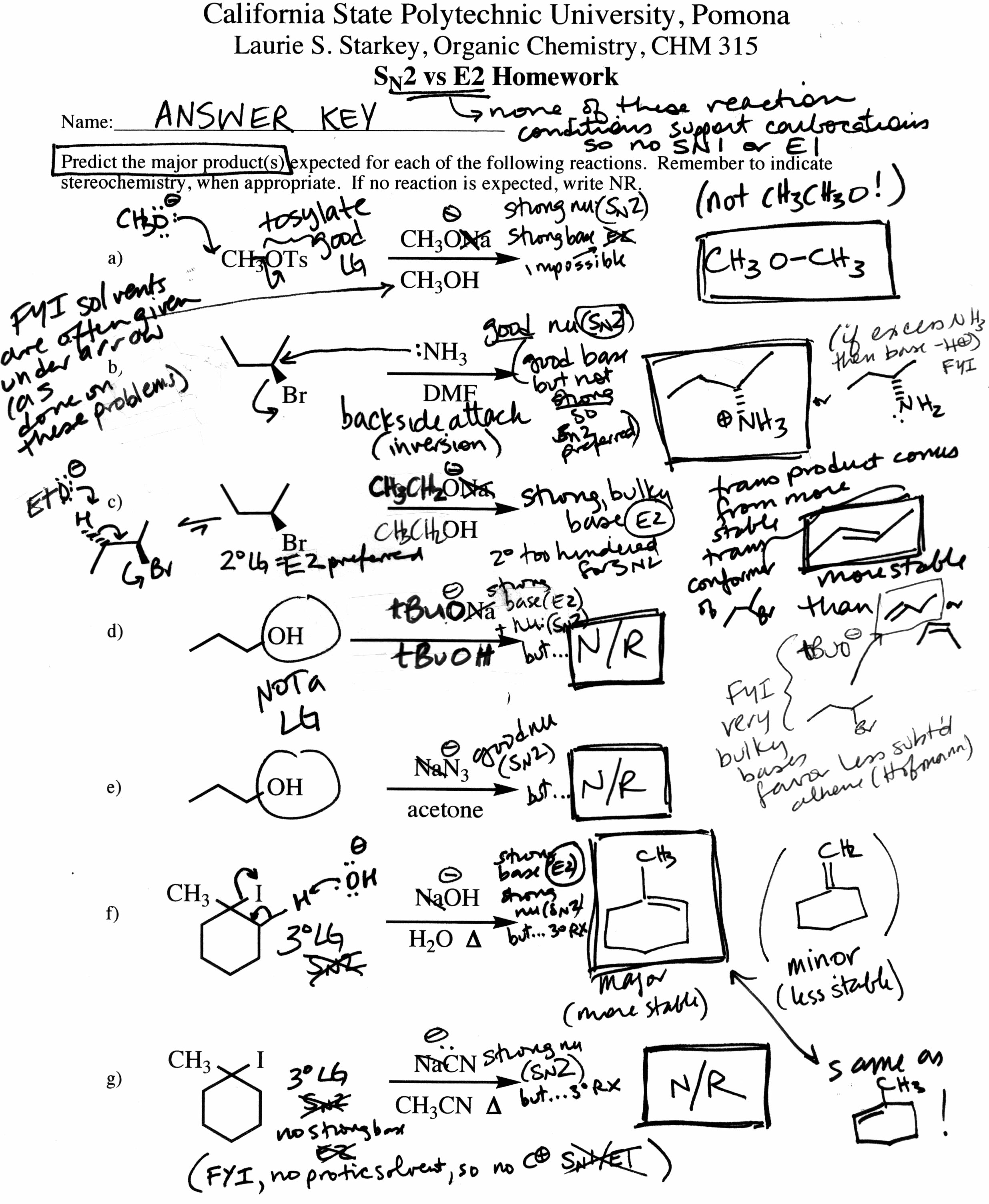 Dr Starkeys CHM 315 Organic Chemistry – Predicting Products Worksheet Answers
