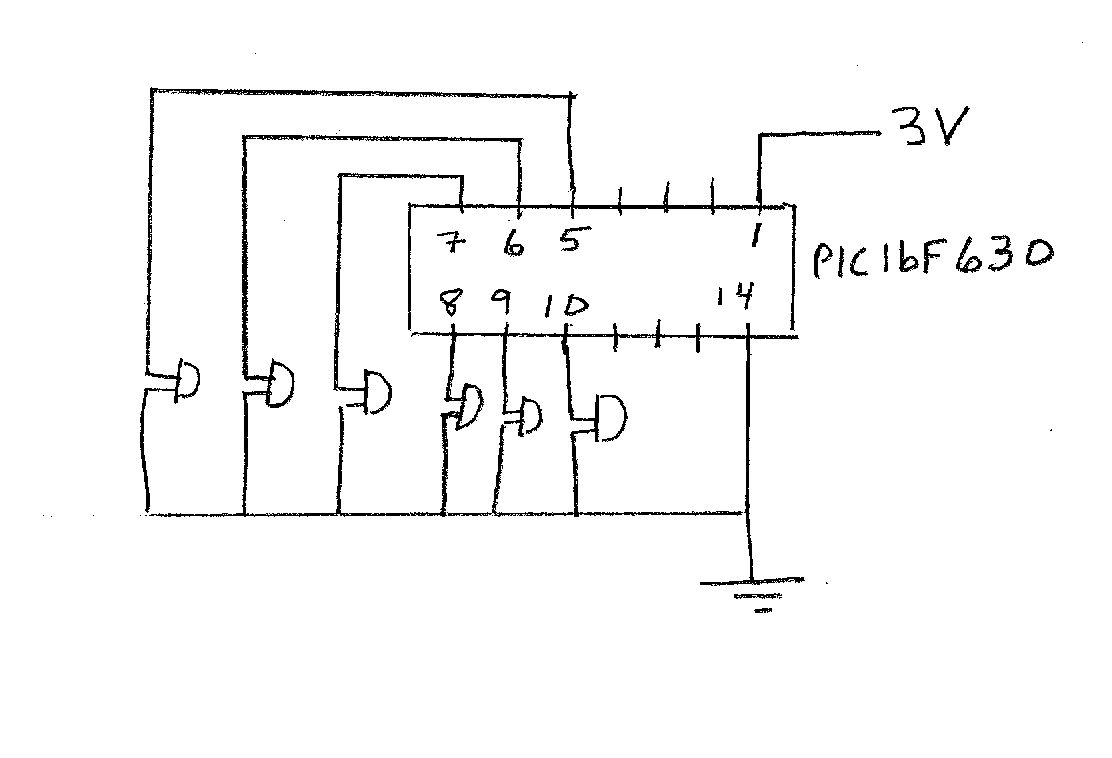 Mdchen Machen Technik The Workshop Figure 1 Pic18f452 Led Blinking Circuit They Will Set Up 6 Leds In A Row That Connect To Pins 5 7 8 9 And 10 As Shown Diagram Below