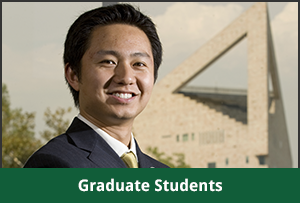 Graduate student poses